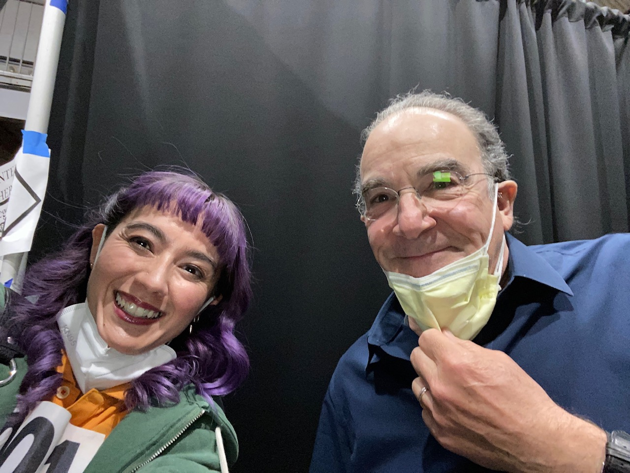 Alex on the set of The Good Fight with Mandy Patinkin