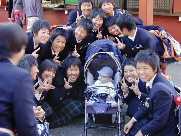 School children with Genevieve's son