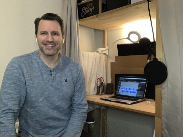 Patrick Oliver Jones in podcast studio