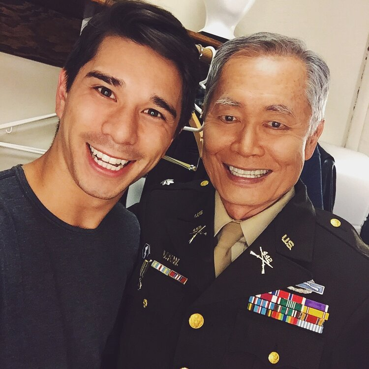 Sam with George Takei in Allegiance