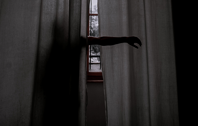 black drapes